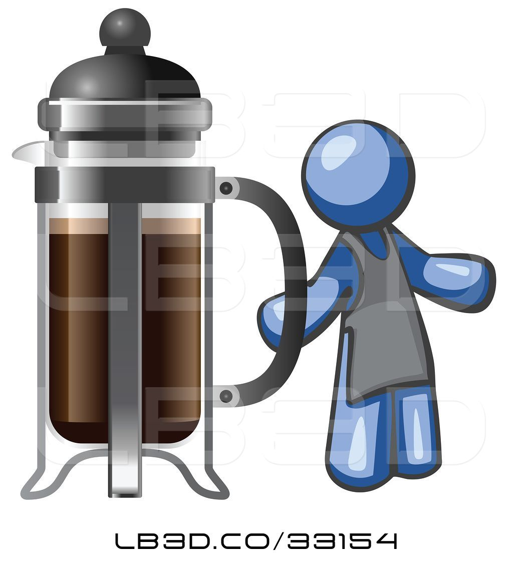 1024x1124 Vector Illustration Of Cartoon Blue Guy Barista By A Coffee French