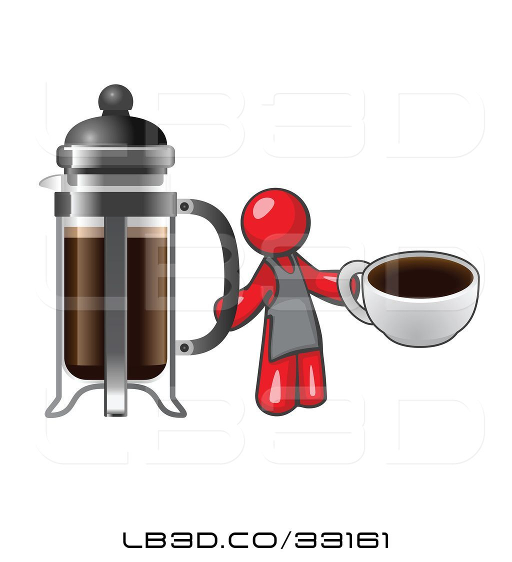 1024x1124 Vector Illustration Of Cartoon Red Guy Barista Holding A Cup Of