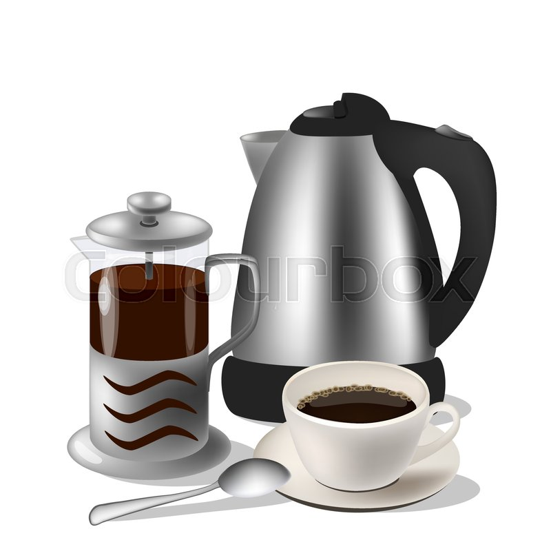 800x800 Vector Illustration Of Coffe Set. Kettle, French Press And Cup