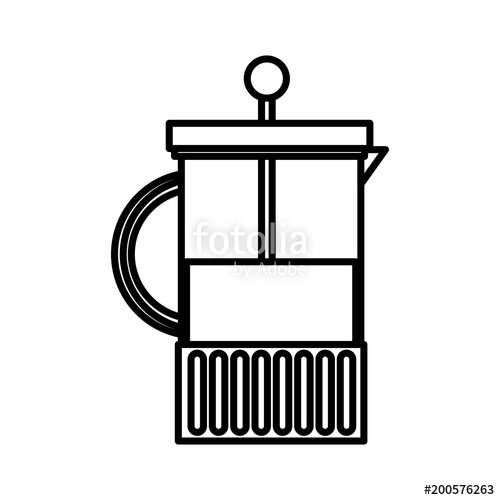 500x500 French Press Maker Coffee Fresh Aroma Vector Illustration Outline