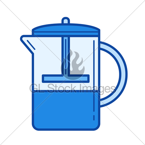 500x500 French Press Line Icon. Gl Stock Images