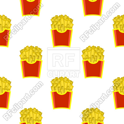 400x400 French Fries In Red Paper Box Seamless Pattern Vector Image