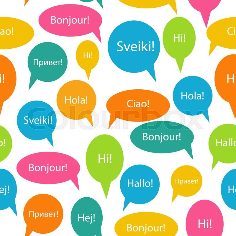 800x800 Seamless Pattern Background Of Speech Bubble With Hello Word On