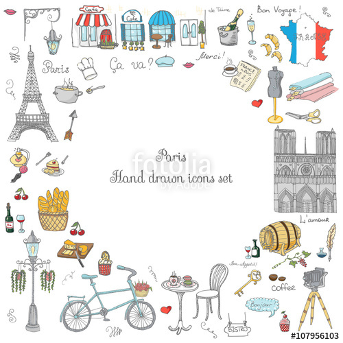 500x500 Set Of Hand Drawn French Icons, Paris Sketch Vector Illustration
