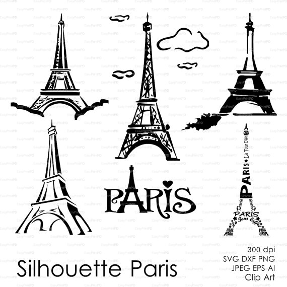 570x570 Silhouette Paris, Eiffel Tower (Eps, Svg, Dxf, Ai, Png) French