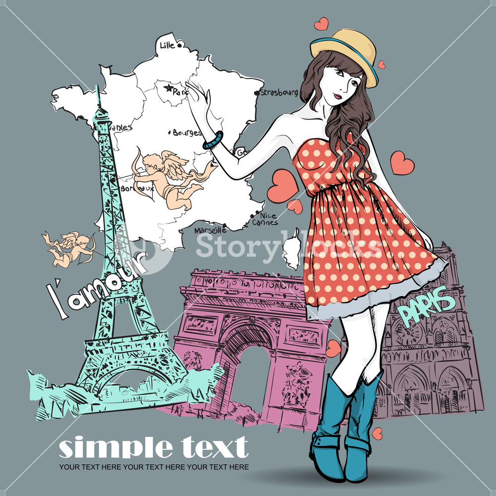 1000x1000 Spring Girl With Hat On A French Background. Vector Illustration