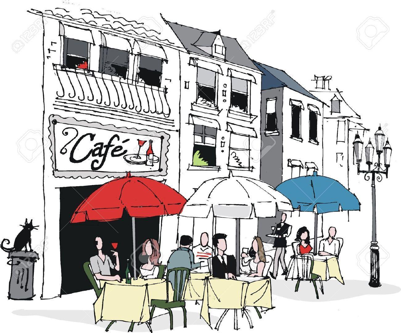 1300x1080 Vector Illustration Of French Cafe Scene Joseph...dreamcoat