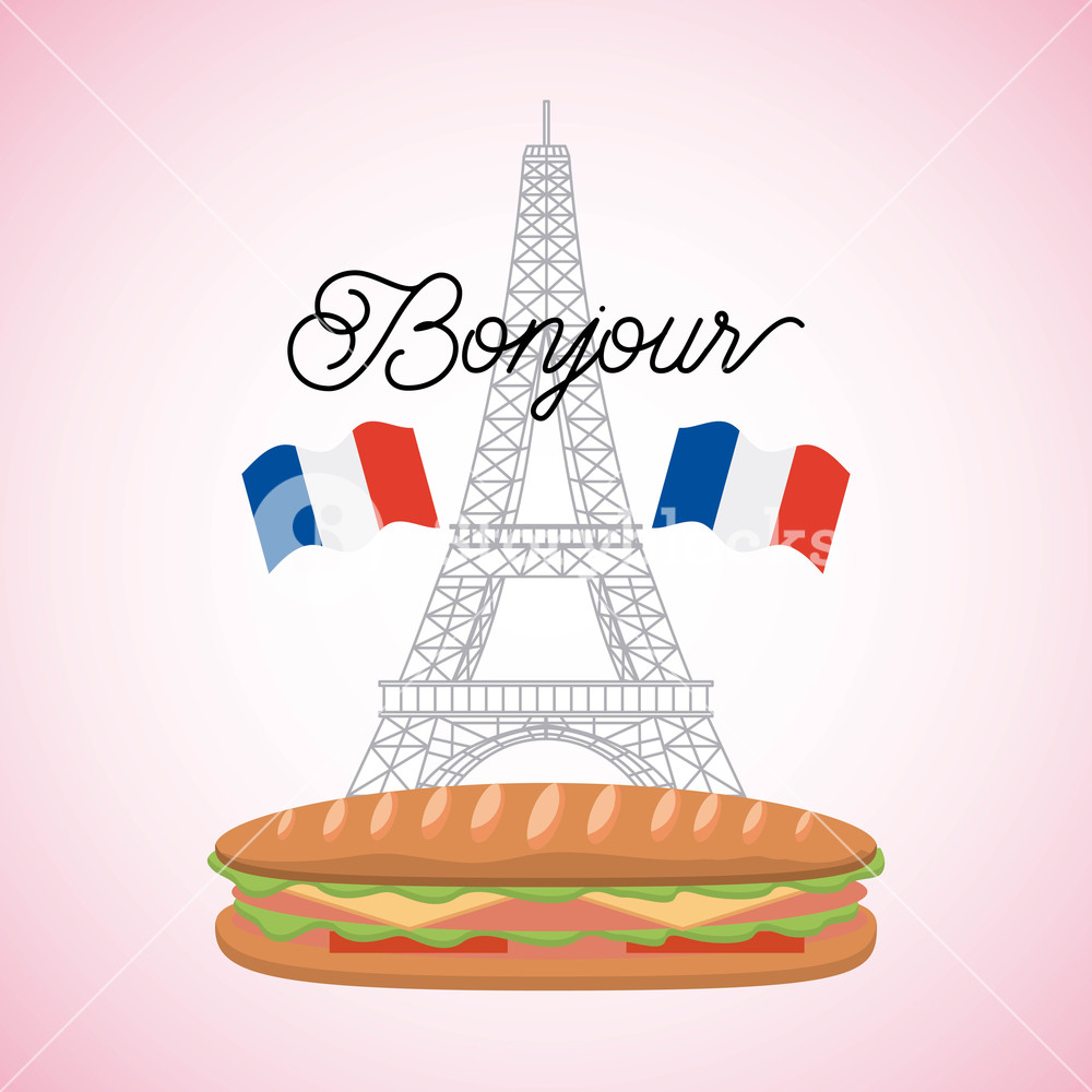 1000x1000 France Paris Card Tower Eiffel With Sandwich French Flags Bonjour