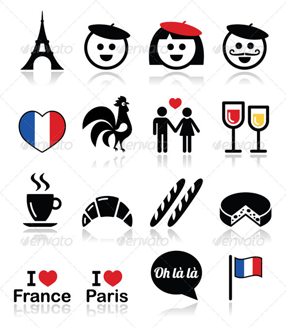 590x676 France, I Love Paris Vector Icons Set By Redkoala Graphicriver