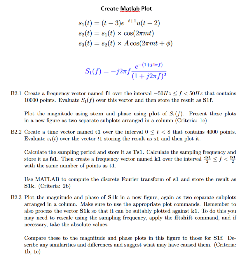843x887 Solved Create Matlab Plot T 1 B21 Create A Frequency Vect