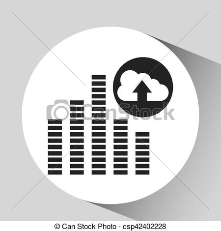 450x470 Upload Cloud Sound Frequency Vector Illustration Eps 10.