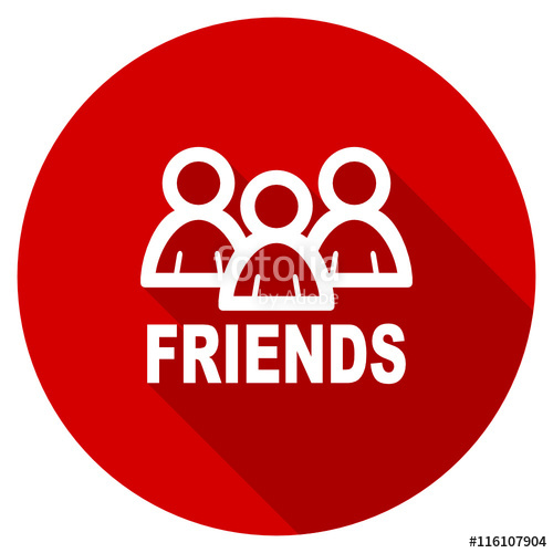 500x500 Flat Design Red Round Friends Vector Icon Stock Image And Royalty