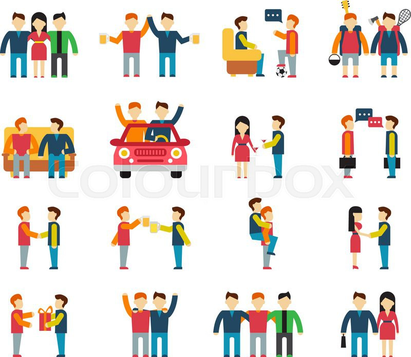 800x695 Friends And Friendly Relationship Social Team Flat Icon Set