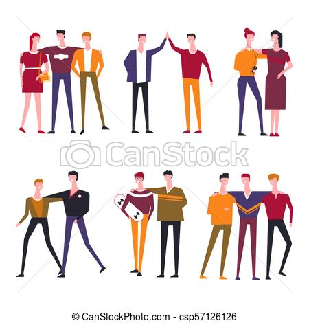 450x470 Friends People Vector Flat Icons. Friends Vector Flat Icons Of