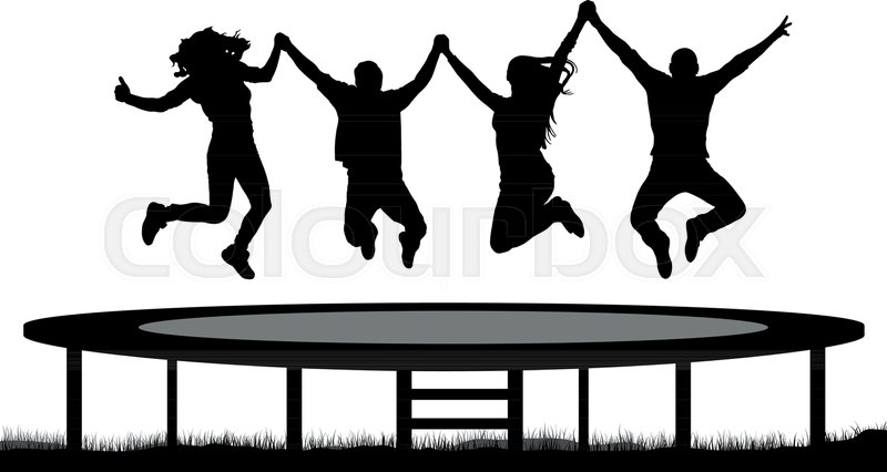 800x426 Jumping People On A Trampoline Silhouette, Jump Cheerful Friends