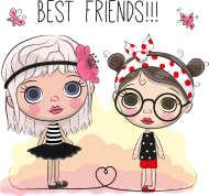 190x178 Little Girl Best Friends Vector Image Illustration By Andriy