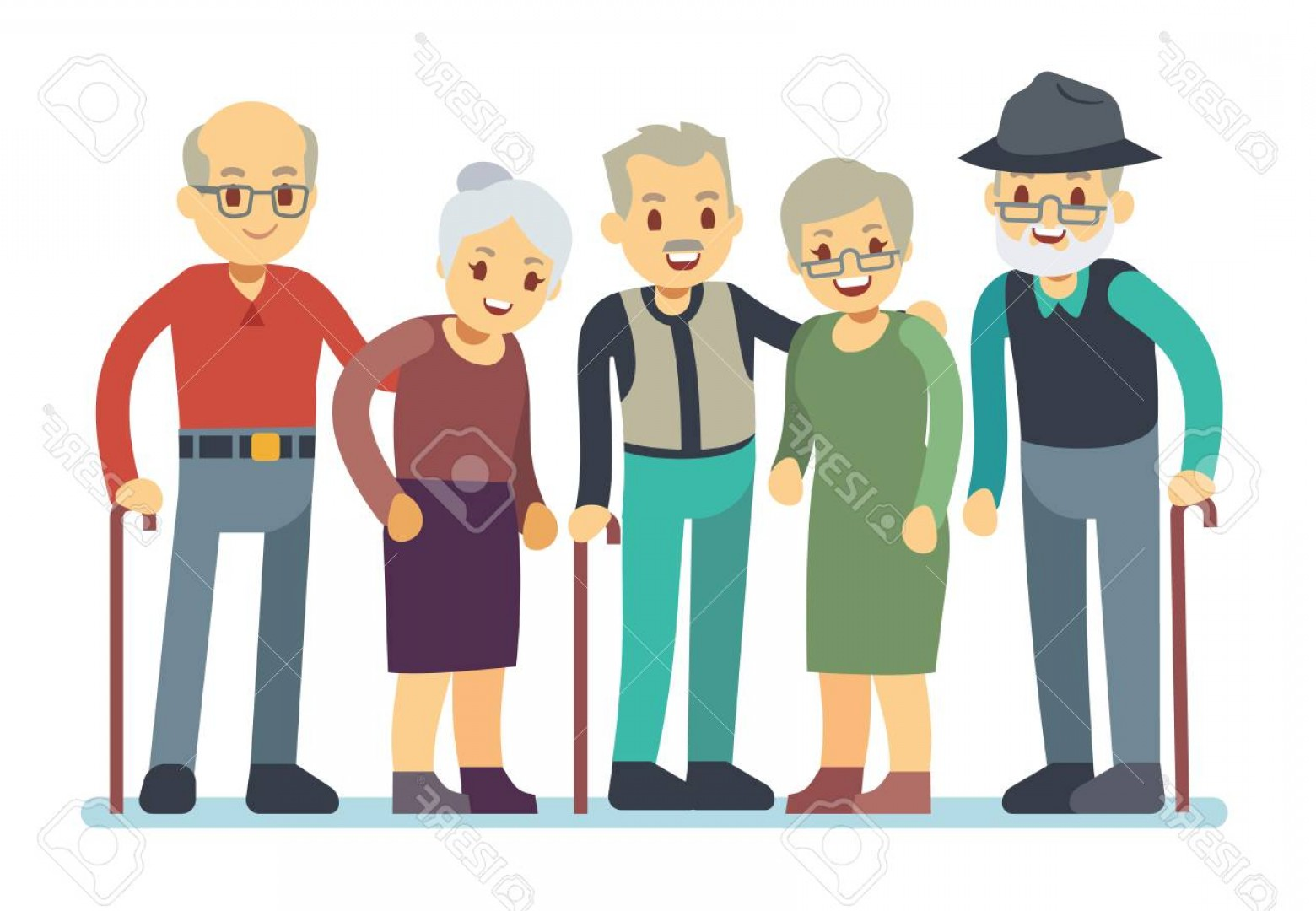 1560x1080 Photostock Vector Group Of Old People Cartoon Characters Happy