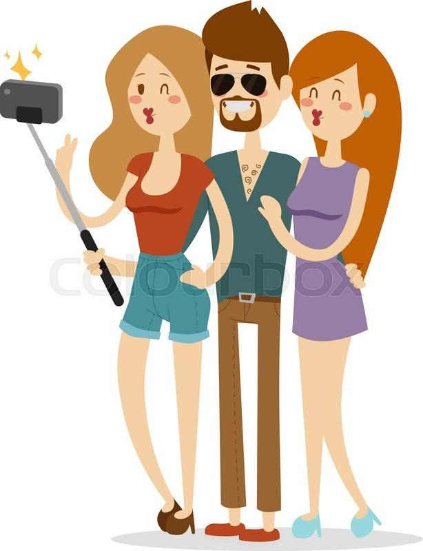 614x800 Selfie Couple Vector Illustration. Selfie Couple Isolated On White