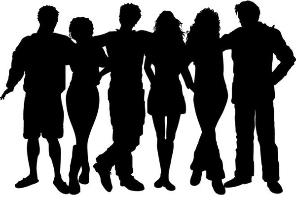 600x399 Vector Silhouettes Group Of Friends Vector Silhouettes Free Vector