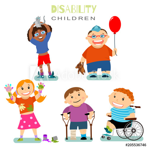 500x500 Disability And Special Needs Of Children With Friends. Vector
