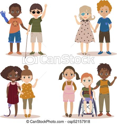 444x470 Disabled Children With Friends. Pupils Girls And Boys