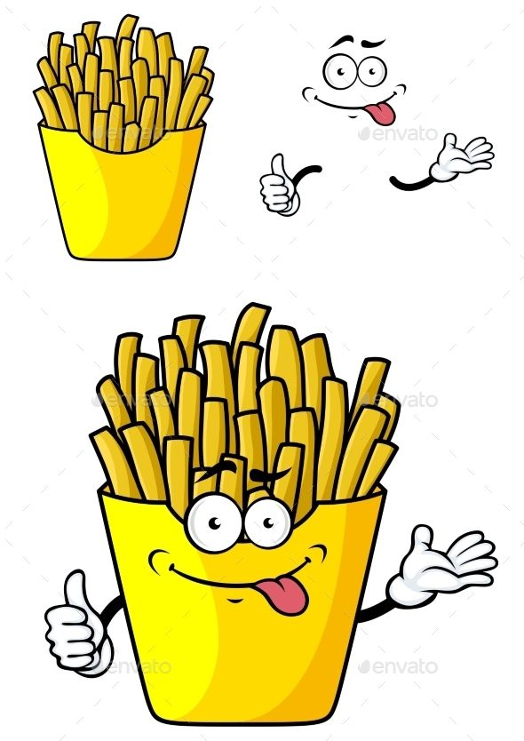 590x834 Cartoon French Fries (Vector Eps, Cs, American, Background, Bun