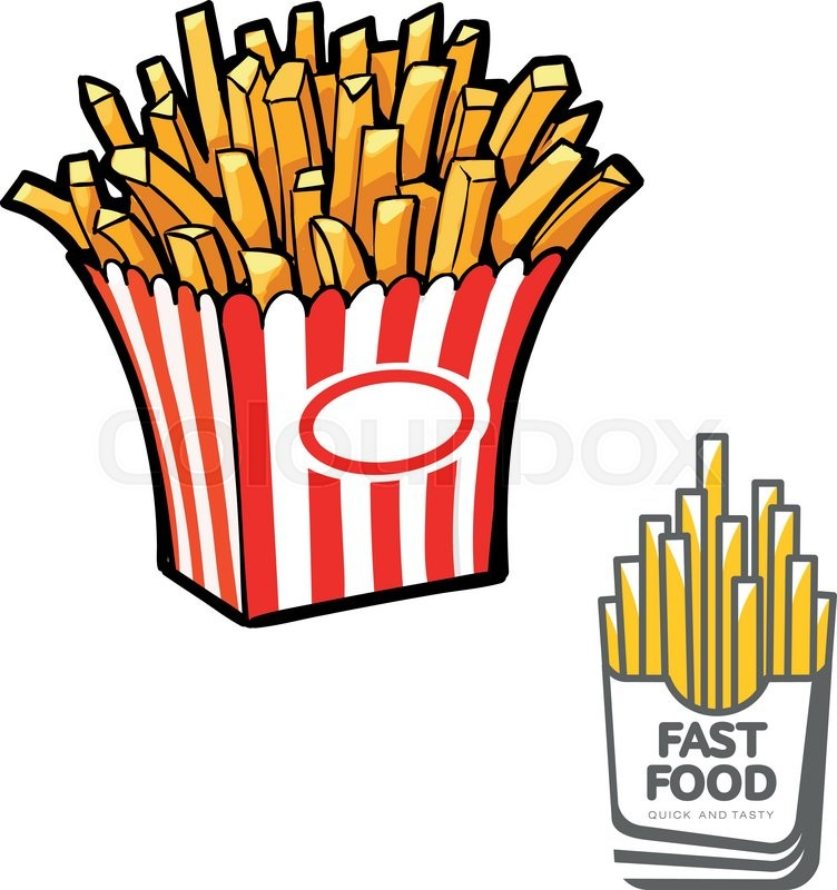 752x800 French Fries In Paper Pack, Vector Illustration Sketch Drawn By