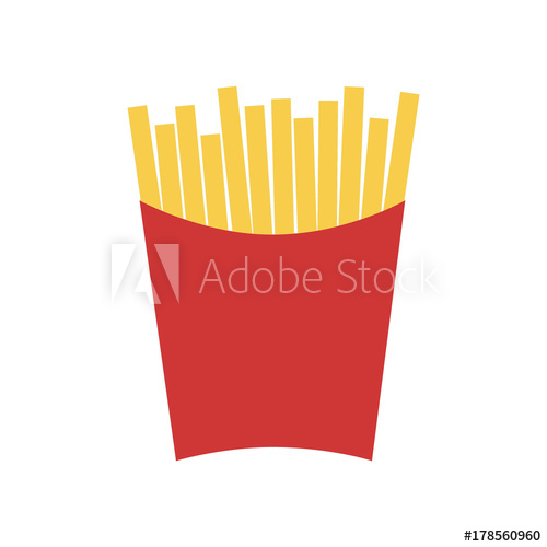 500x500 French Fries In Red Paper Box. Fries Vector Illustration Cartoon