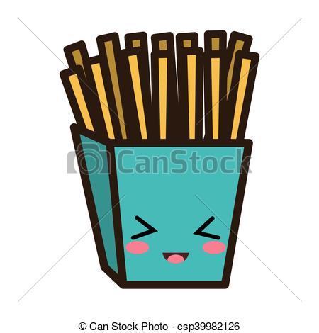 450x470 Kawaii Cartoon French Fries. Box French Fries. Kawaii Cartoon With