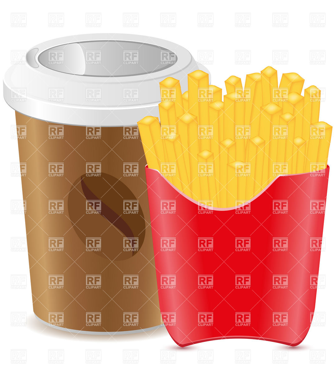 1076x1200 Paper Cup With Coffee And French Fries Vector Image Vector