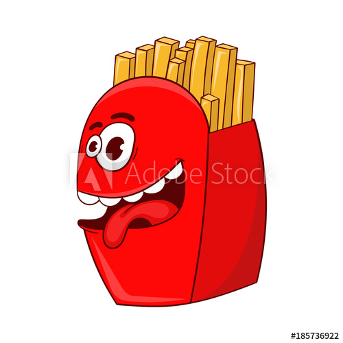 500x500 Cartoon Funny Packaging With French Fries Vector Illustration