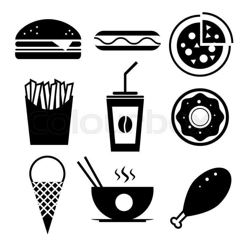 800x800 Fast Food Vector Icon Set. Burger, Ice Cream, Coffee, Chinese Food