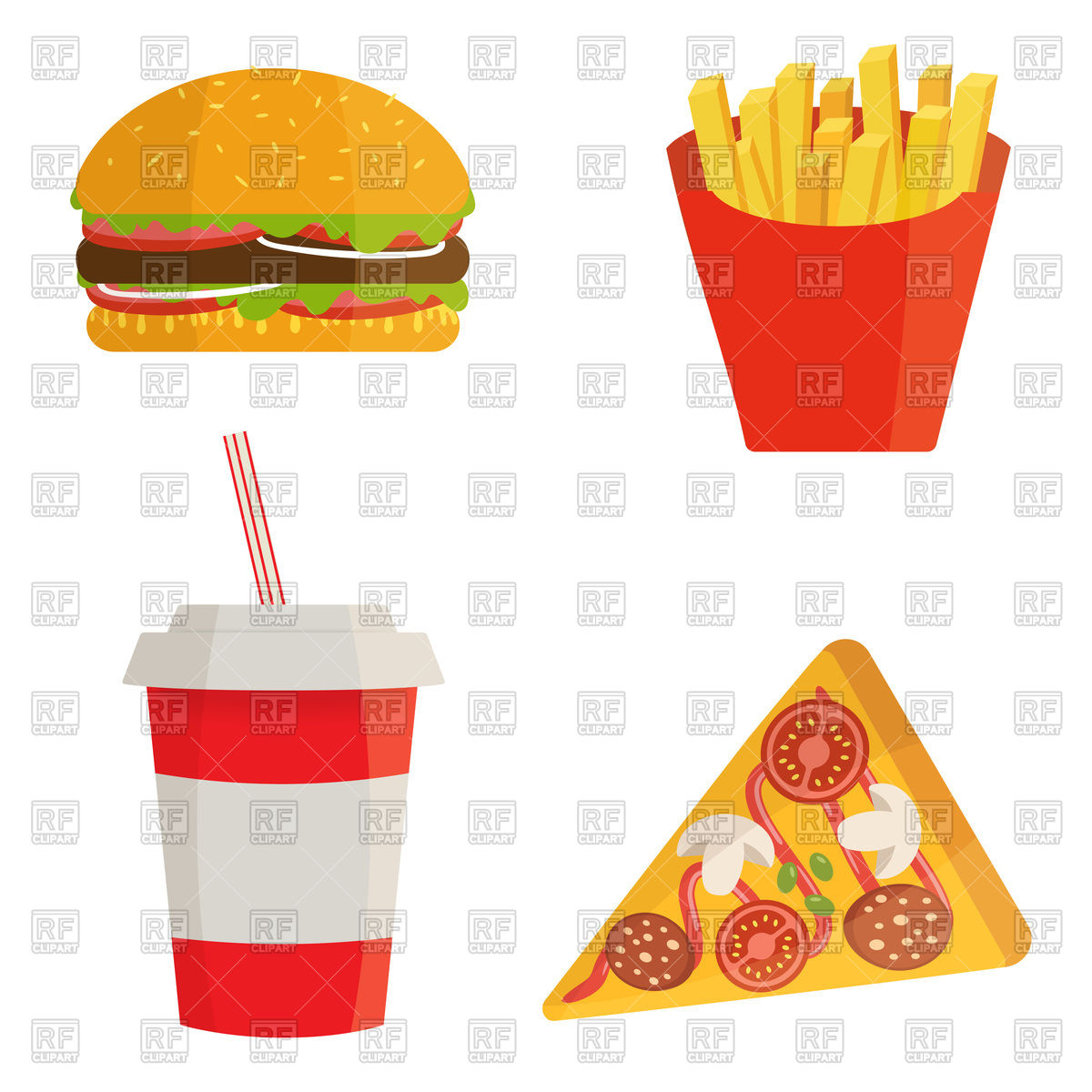 1200x1200 Fast Food With Cola, Hamburger, Pizza And Fries Vector Image