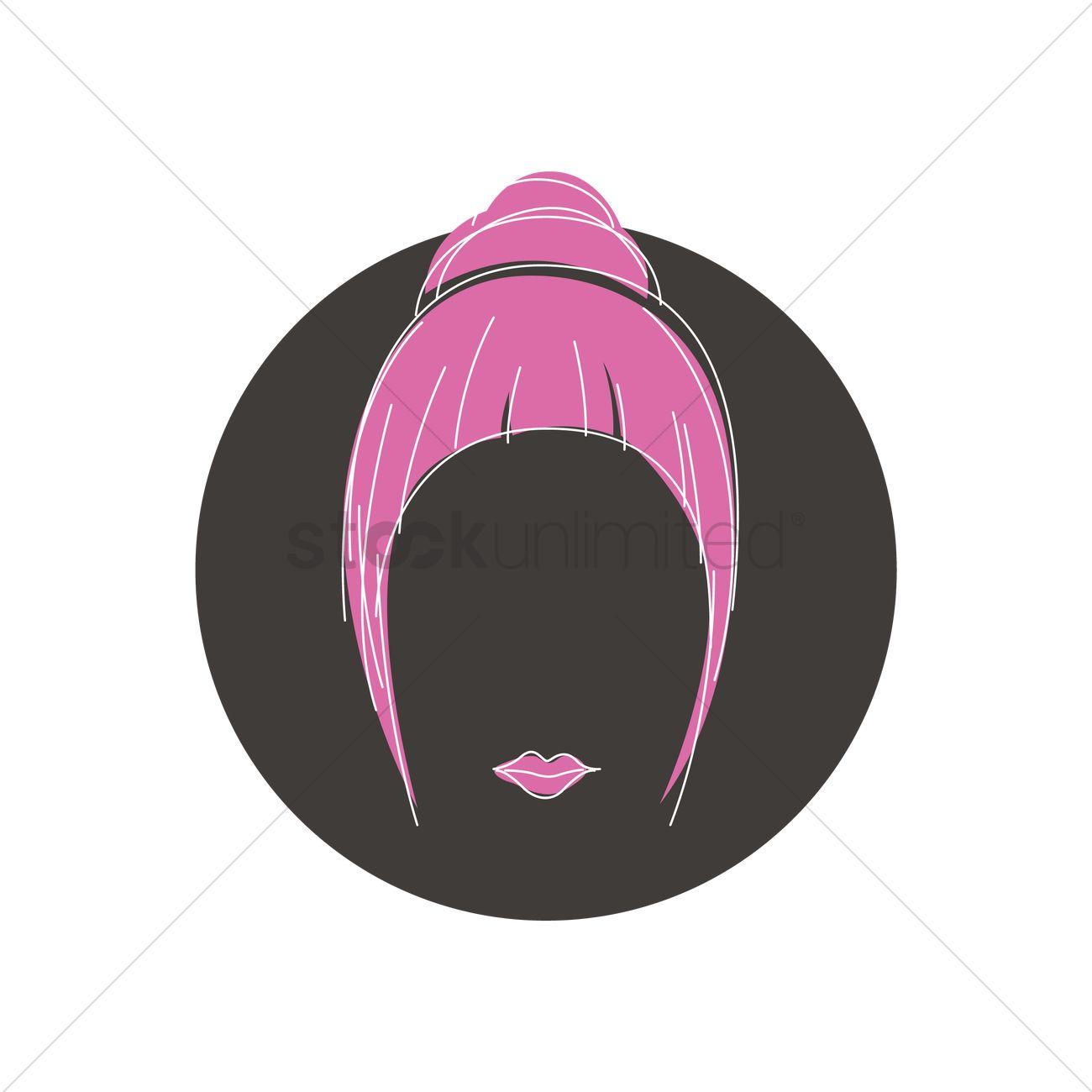 1300x1300 Hair Bun With Fringe Vector Image