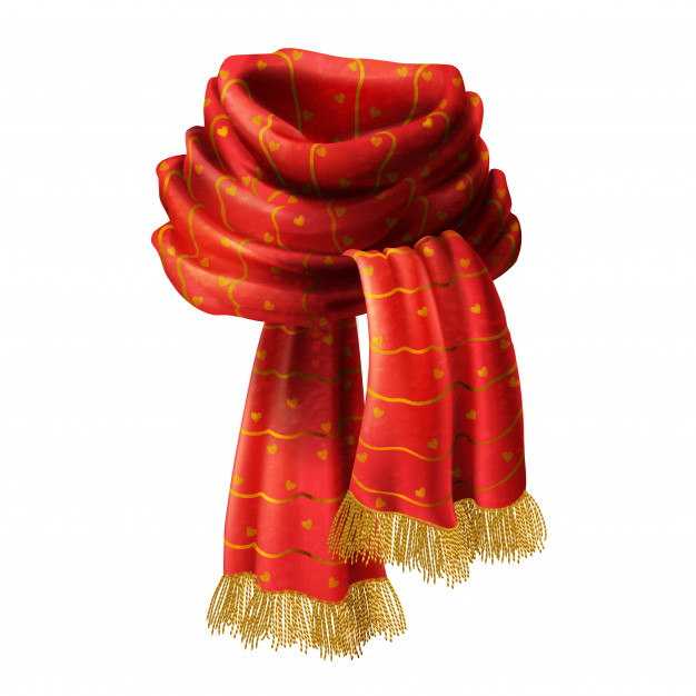 626x626 3d Realistic Illustration Of Red Knitted Scarf With Decorative