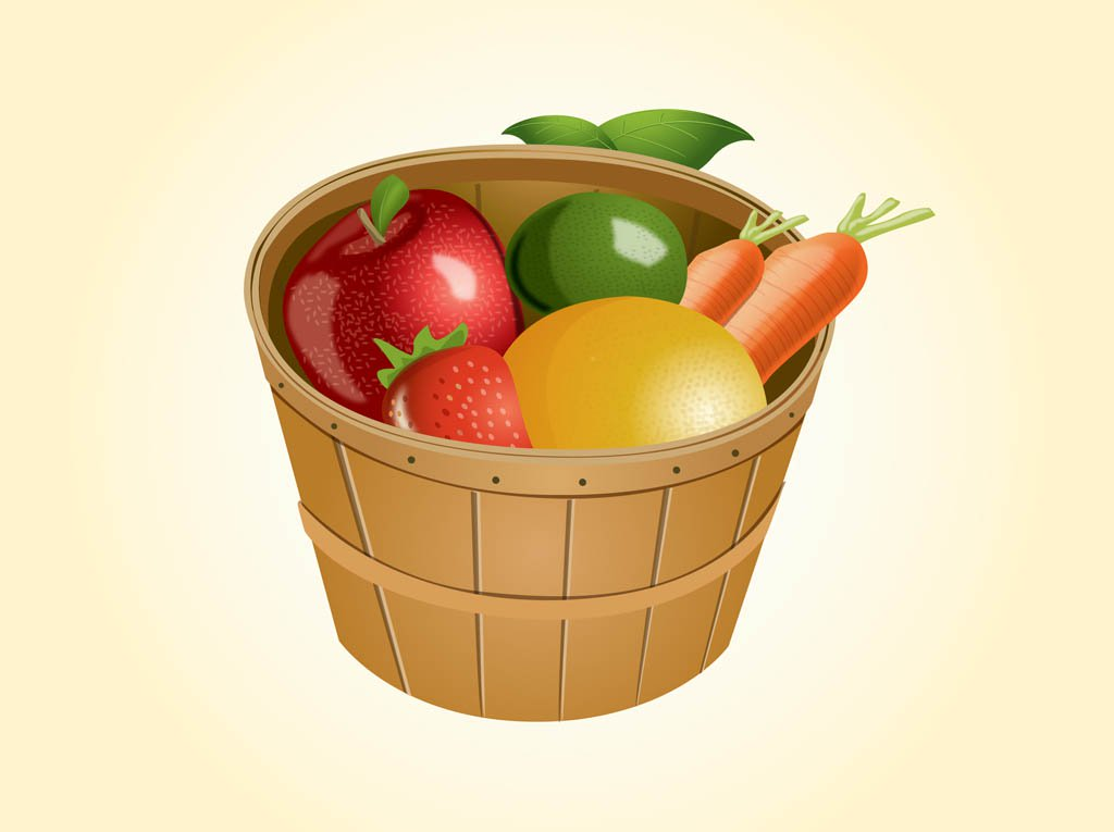 1024x765 Fruit Basket Vector Art Amp Graphics