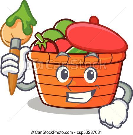 450x460 Artist Fruit Basket Character Cartoon Vector Illustration.