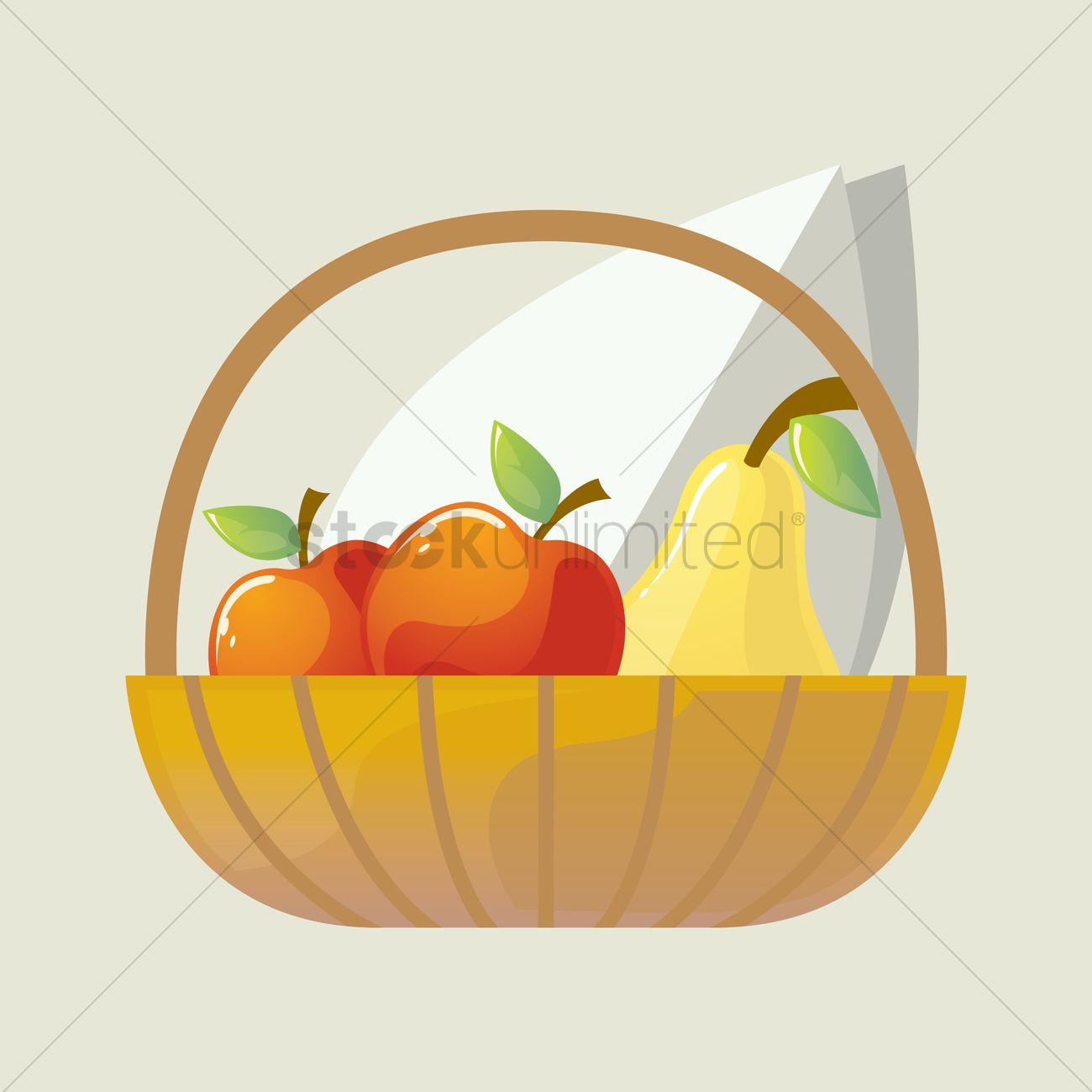 1300x1300 Fruit Basket Vector Image