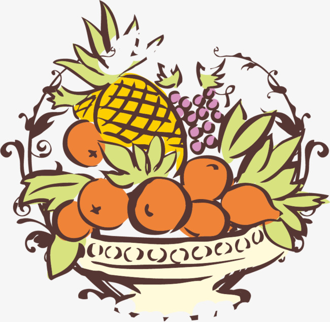 650x634 Pineapple Apple Fruit Basket Png Vector Material, Pineapple Vector