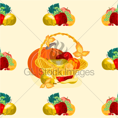 500x500 Seamless Texure Fruit Basket Vector Gl Stock Images