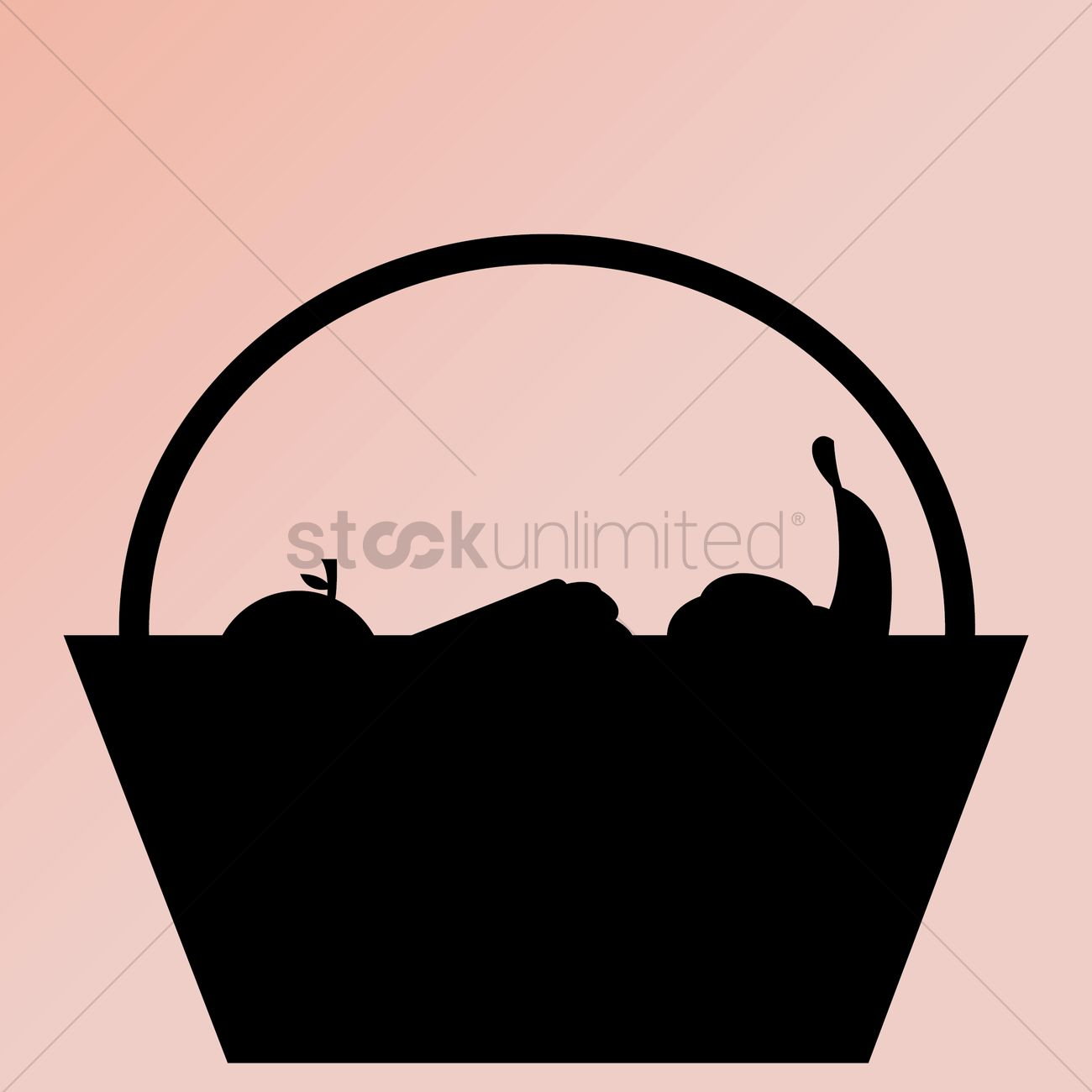 1300x1300 Silhouette Of Fruit Basket Vector Image