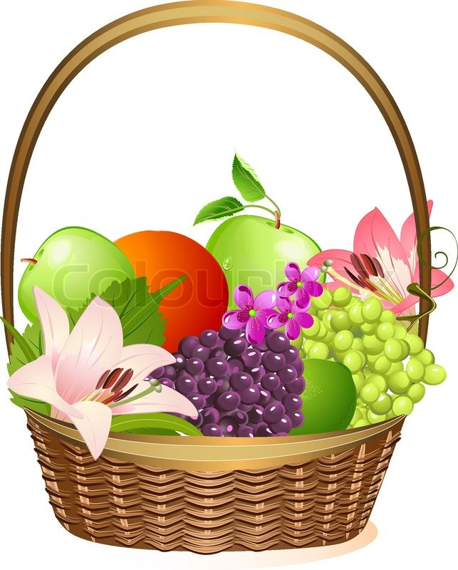643x800 Wicker Fruit Basket With Flowers Stock Vector Colourbox