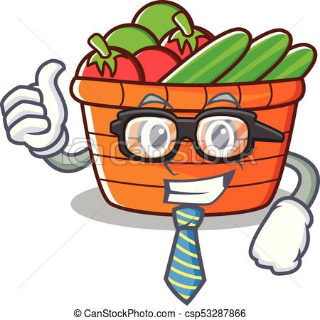 450x449 Businessman Fruit Basket Character Cartoon Vector Illustration.