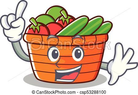 450x310 Finger Fruit Basket Character Cartoon Vector Illustration.