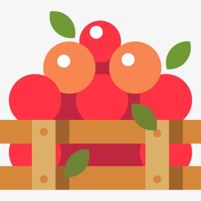 650x650 Flat Fruit Basket Vector Material, Fruit, Wooden Basket, Flat Png