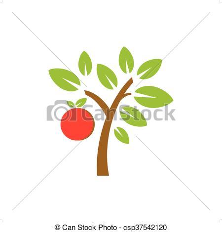 450x470 Fruit Tree. Vector Apple Fruit Tree Isolated On White Background.