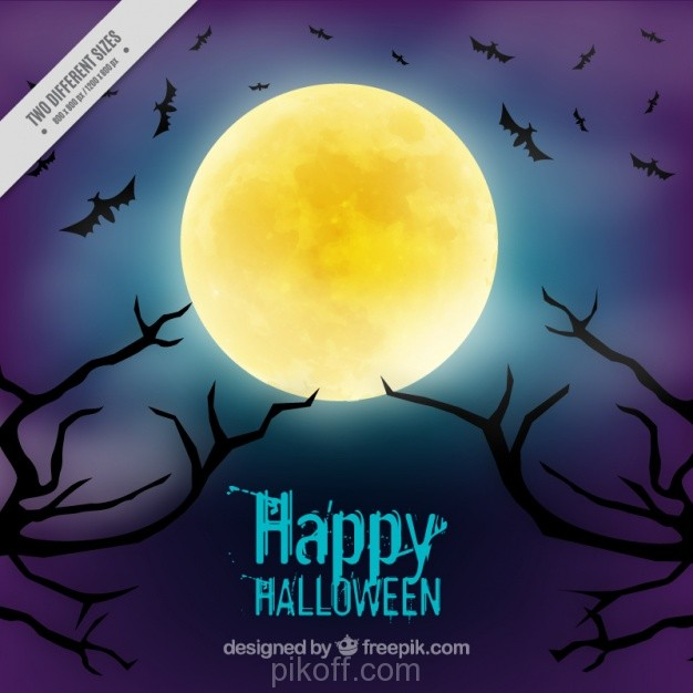 626x626 Ai] Background For Halloween With A Full Moon Vector Free Download