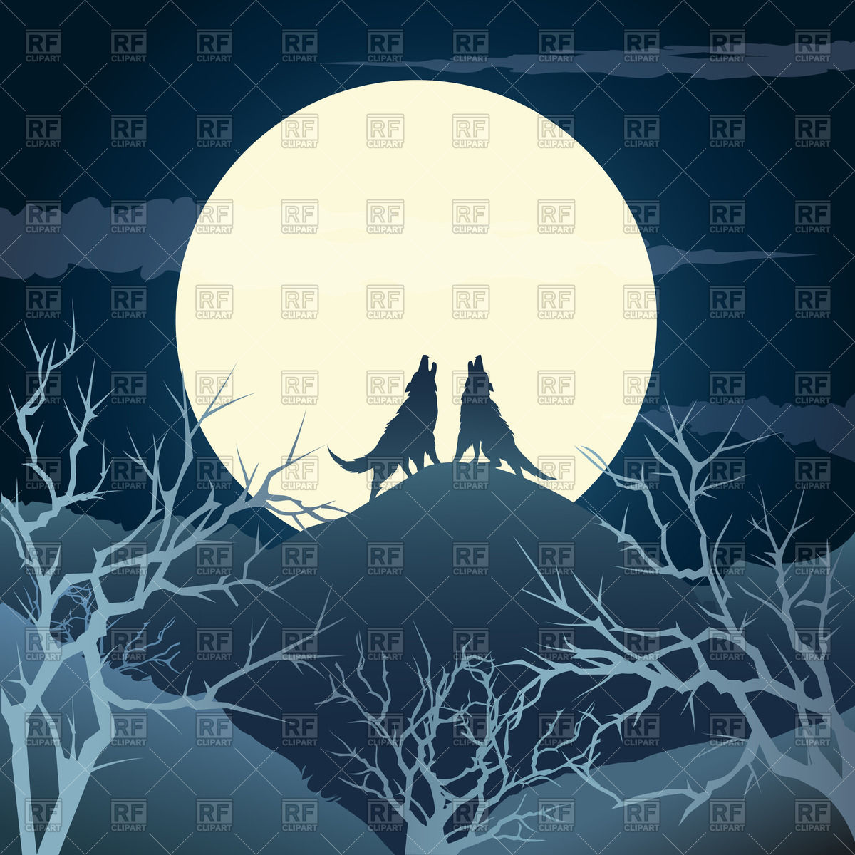 1200x1200 The Howling Wolves On A Hill Against Full Moon Vector Image