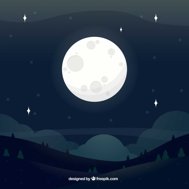 626x626 Background Of Landscape With Full Moon Vector Free Download