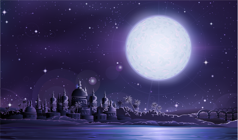 800x472 Under The Full Moon The Ancient City Of Vector Ancient City Under